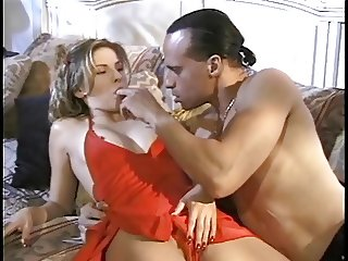 Hot sexy blonde deep-throats dude's cock while second dude licks her pussy
