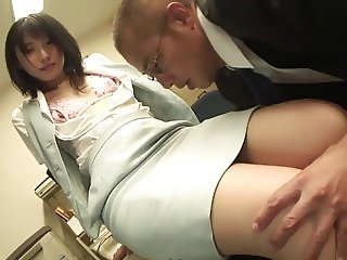 Office babe in stockings gets fingered before banging