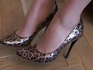 Tan Pantyhose Leopard Stiletto High Heels Fuck Me Pumps