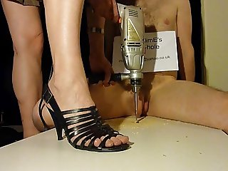 Brutal cock crush footjob with strappy high heels (shoejob)