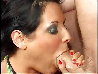 Two sexy brunettes get down and give guys blowjob in hot foursome