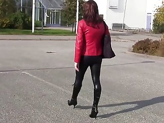 shiny leggings and high heels