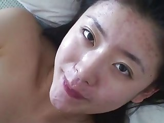 chinese girl swallowing cum