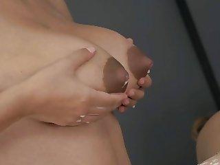 Slow motion milk boobs