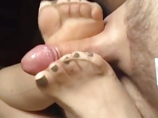 Russian GF sensual nylon footjob, perfect feet !NO CUMSHOT!