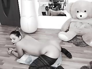 Horny Cam Girl Being Silly With Big Blow Up Dildo Dancing