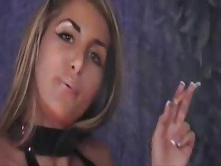 Hottie smoking in latex and high heels