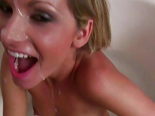 Cute blonde Girlfriend caught masturbating in the shower