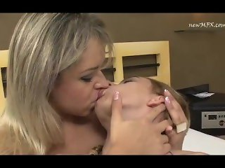 Hot blonde kissing all forms