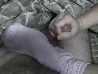 sockjob, sockfuck and footjob in dirty pink slouch socks