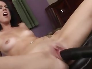 horny Little Brunette Slut Fucking A Dildo Machine