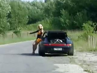 The woman hitchhiker fucking man