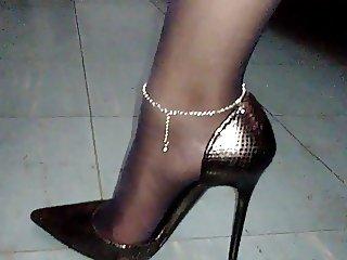 black stockings and heels
