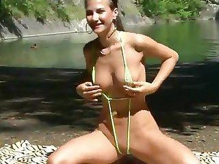 J15 Lauren's public bikini strip