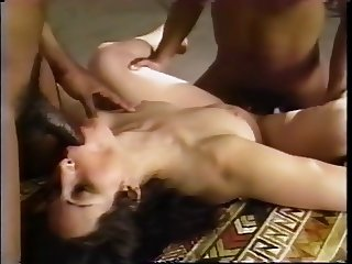 Three gays fuck mature girl