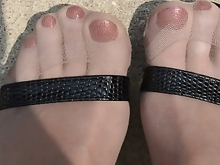 Pantyhose Feet in High Heels Outdoors