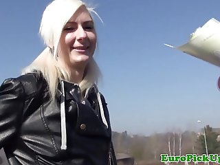 Pierced skater euro chick pounded outdoors