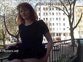 Shy ass shaking redhead Ivys flashing small tits and massage