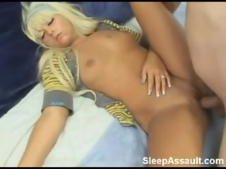 Sleeping Blonde Teen Fucked in the Ass