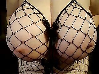 My lady friends 42 triple D boobs - fish net