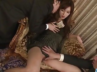 Mei Haruka enjoys two men for a wild threesome fuck