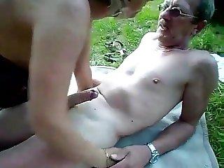 Mature couple outdoor internal cum