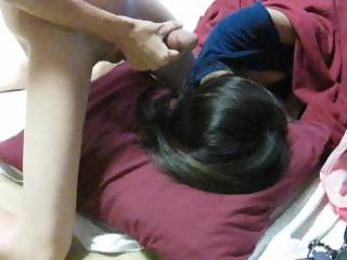 Asian girl sleeping so I stroke my cock for her, Cô gái ngủ