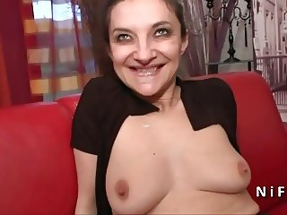 French mature hard analized and DP in a gangbang