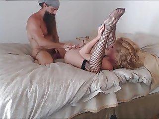 Long bearded muscle guy fucks his girl
