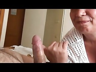granny makes her hubby come and licks his cock