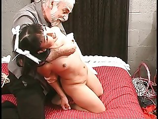 Tattooed latin cutie in pigtails gets bounded with rope on bed