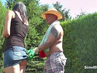 Daughter get fuck by German Step-Dad in Garden when Mom away