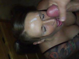 Pigtail slut gets her face cum covered!