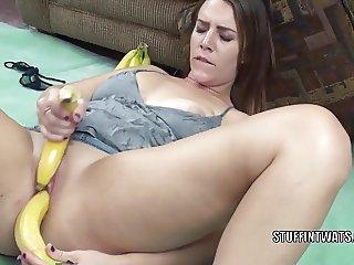 Brunette coed Alisha Adams stuffs her twat with fruit