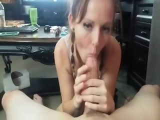 milf from Sexdatemilf.com with pigtail braids gives amazing blowjob