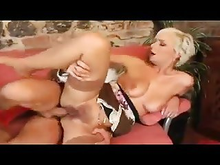 His touch makes this pretty blonde MILF in stockings horny