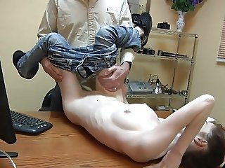 Skinny babe with great tits gets fucked on a desk.