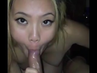 Asian cocksucker drinks all her sperm lunch