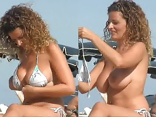 Bikini and topless spanish babe