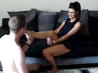 British hottie with foot slave