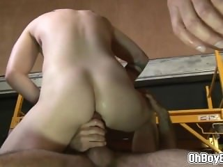 Hunk gays threesome throat and anal fucking at the warehouse