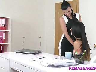FemaleAgent Busty agent seduces shy beauty
