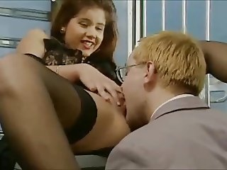 Cute German brunette in stockings gets fucked in both holes