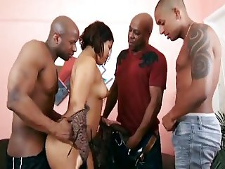 Thick Ebony Teen gangbanged by 3 Bbcs
