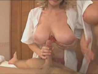 Lucky guy gets massage and a little more from 2 huge tits milfs