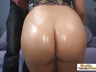Shaved pussy drilled and cummed on very hard