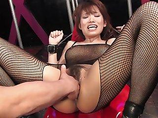Busty brunette gets her hairy slit fingered and clit teased