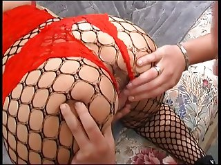 Redheaded tattoo milf hottie in stockings and lingerie loves anal fucking