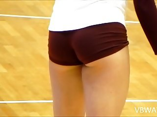 perfect volleyball ass bending over in red shorts