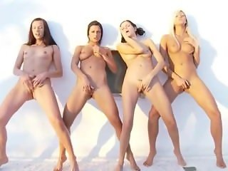 Four lesbian babes stripping then fingering together